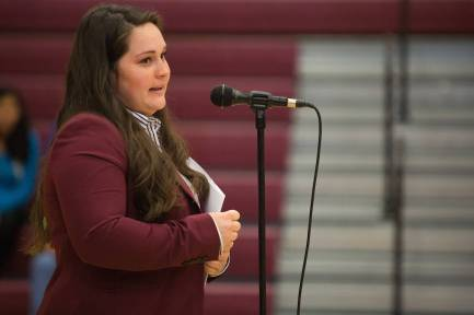 Makayla Angel, WC '16, speaks to her students during the commencement ceremony for the RISE Program on Friday, July 14, 2017 at Fair Street School. (AJ Reynolds/Brenau University)