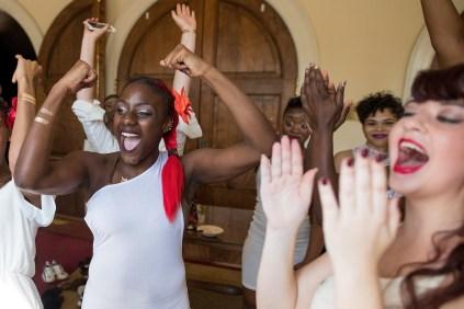 Brenau dancers reacts after a performance during the homecoming celebrations at Brenau University. (AJ Reynolds/Brenau University)