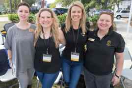 From left to right Jessi Shrout, Susan Papesh, WC '06, Brooke Bargeron Statham, WC '00, and Rosanne Short pose for a photo during the homecoming celebrations at Brenau University. (AJ Reynolds/Brenau University)