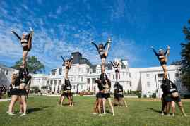 Brenau cheerleaders perform on the front lawn during the homecoming celebrations at Brenau University. (AJ Reynolds/Brenau University)
