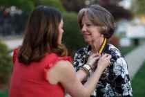 Lynne Serge Doby, WC '68, gets pinned for her 50th reunion. (AJ Reynolds/Brenau University