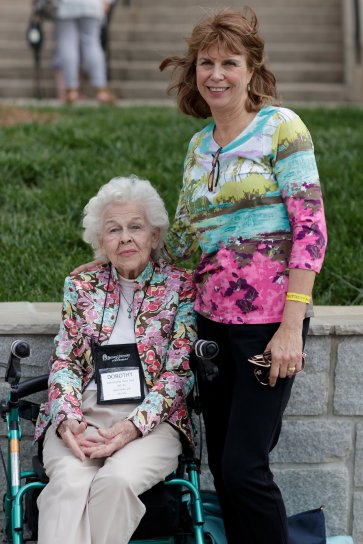 Dorothy Fay Dean Zuck, WC '44, poses for a photo with Betsy Z. Wisehart. (AJ Reynolds/Brenau University)