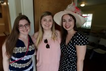 Zoe Scheffrin Durden, Rachel Chapman and Miriam Murphy-Gary inside the AXO house. (AJ Reynolds/Brenau University)