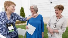 Glo Kavakos Aaron, Jane Walker Stoner and Sally Bagwell Higgins laugh at a Chi Omega reunion (AJ Reynolds/Brenau University)