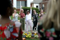 Members of the Alpha Delta Pi sorority sing songs during the sorority open house of the Alumnae Reunion Weekend & May Day at Brenau University Saturday, April 14, 2018, in Gainesville, Ga. Photo by Jason Getz / Brenau University
