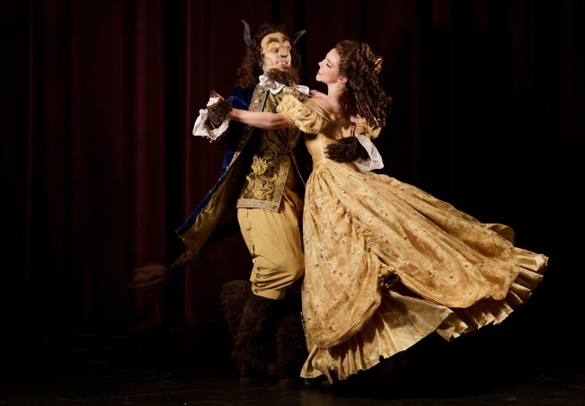 University of North Georgia student Chris Hallowes and Brenau's Lauren Hill, a junior acting major from Flowery Branch, Ga., don costumes from the Gainesville Theatre Alliance's production of 'Beauty and the Beast'.