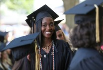 Ajike Atijosan lines up to receive her diploma during the Women's College Commencement at Brenau University Friday May 4, 2018 in Gainesville, Ga. (Jason Getz for Brenau University)