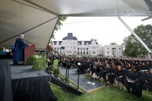 Brenau University President Ed Schrader addresses the students during the graduate and undergraduate commencement Saturday May 5, 2018 in Gainesville, Ga. (Jason Getz for Brenau University)