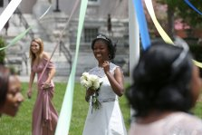 May Queen Simone Lewis is wrapped in the May Pole during the May Day Celebration of the Alumnae Reunion Weekend & May Day at Brenau University Saturday, April 14, 2018, in Gainesville, Ga. Photo by Jason Getz / Brenau University