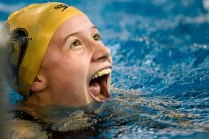 Brenau's Yanne Toussaint reacts after seeing her winning time in the 100 yard breaststroke during the Appalachian Athletic Conference Swimming & Diving Championship Meet on Friday, Feb. 9, 2019 in Kingsport, Tenn. (AJ Reynolds/Brenau University)