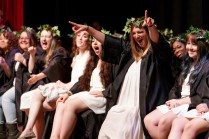 Senior Devin Horan reacts during the Class Day celebrations inside Pearce Auditorium.