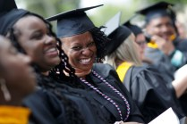 Students laughing during commencement