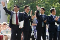 Delegation from Anhui Normal University wave.