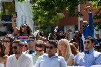 Crowd cheers at commencement ceremony