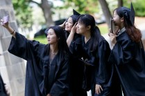 Joint Anhui Normal University students selfie at commencement