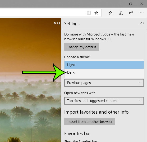 how to switch to the dark theme in microsoft edge