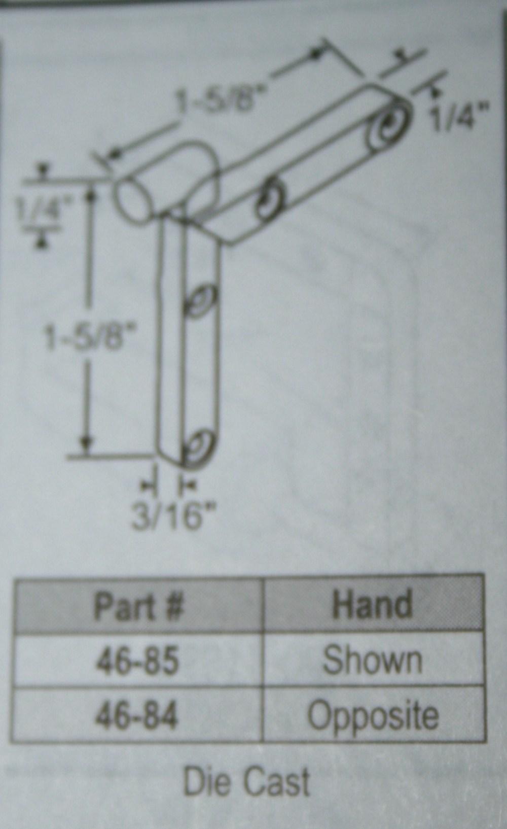 medium resolution of corner key 46 84 handed 1 5 8 x 1 5 8 die cast