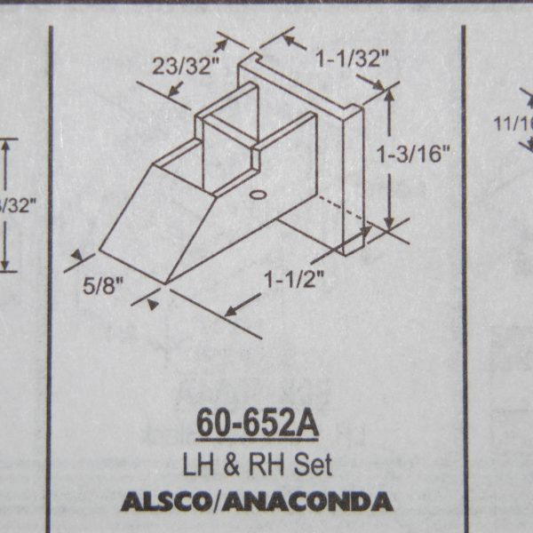 Alsco / Anaconda Sash Guide Set 1 1/2