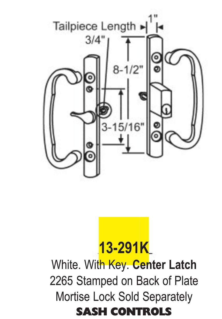 Sash Control Patio Door Handle Kit Keyed or No Key White