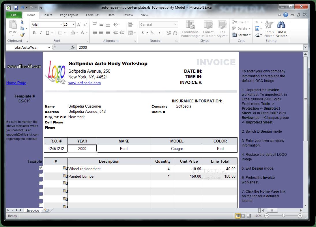 Download Auto Repair Invoice Template