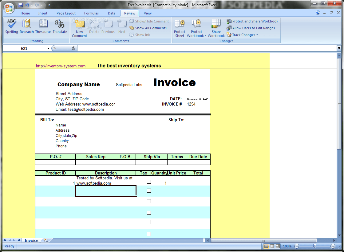 Download Free Excel Invoice Template 1 2