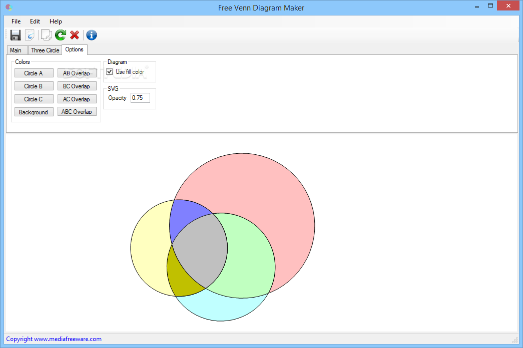 venn diagram creator wiring receptacle download free maker 1 0 from the options tab you can change colors for