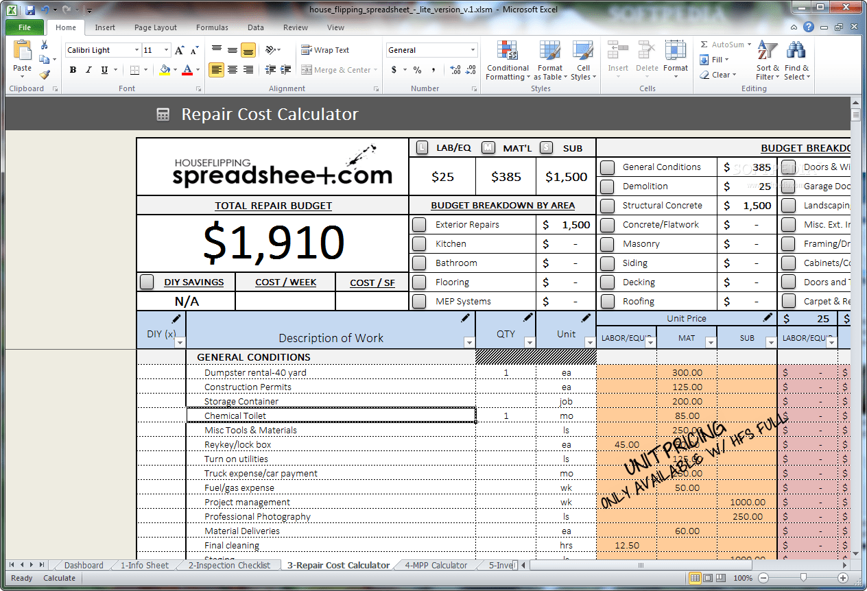Download House Flipping Spreadsheet 1
