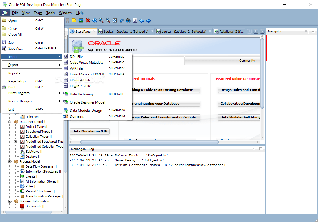 hight resolution of  oracle sql developer data modeler oracle sql developer data modeler can import files from various