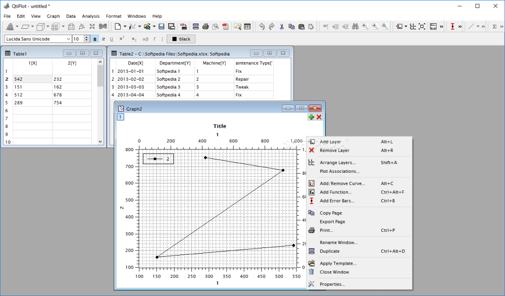 medium resolution of qtiplot the main window of qtiplot enables you to plot various graphs by providing it
