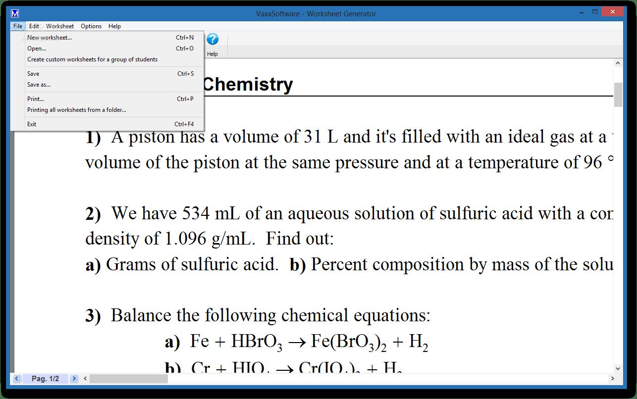 Download Worksheet Generator For Chemistry 1 7