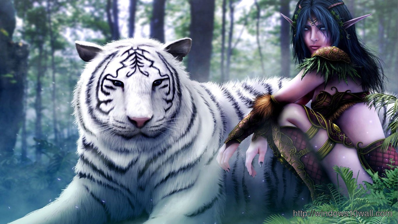 3d Name Wallpapers Software Free Download 3d White Tiger And Girl Hd Fre Download Wallpaper