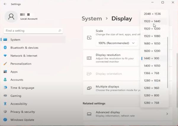 Change Screen Resolution via Settings in Windows 11