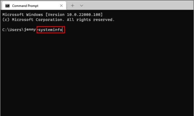 Check Computer Specs Windows11 via Command Prompt