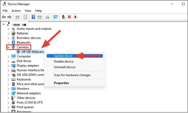 Fix Windows 11 Webcam Not Working by Re-enabling Webcam Device