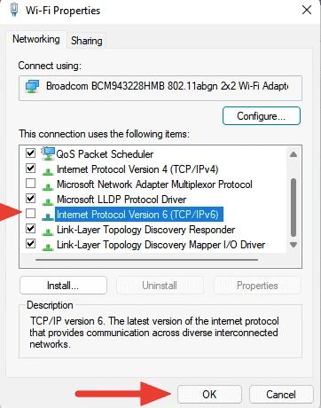Fix Windows 11 WiFi Not Working by Disabling IPv6 Settings