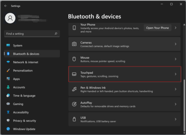 Find Touchpad on Windows 11