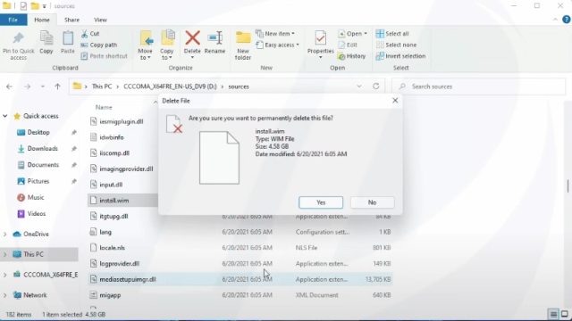 Delete install.viw file from windows 10 iso