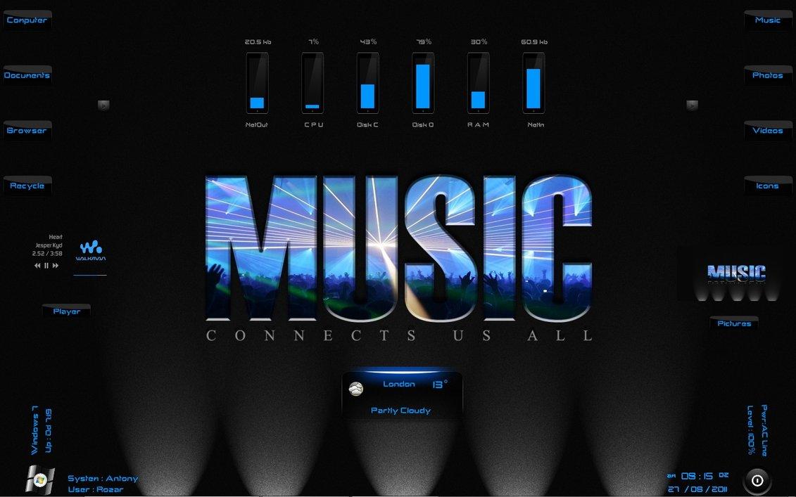 Music Lights Rainmeter Theme for Windows7