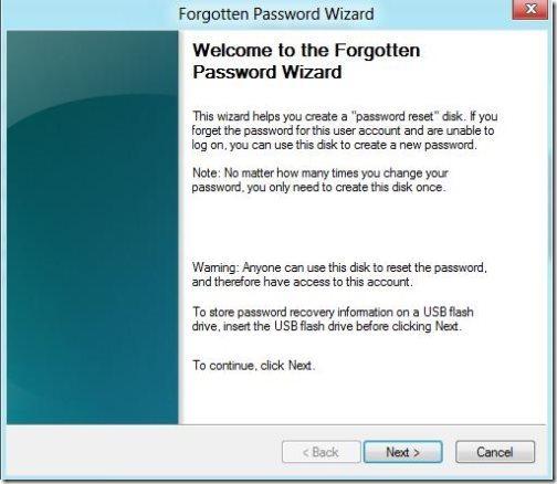 Create A Password Reset USB In Windows 8 4