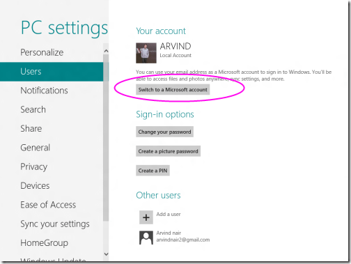 Toogle Between Microsoft account to local account 8