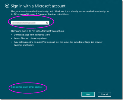 Toogle Between Microsoft account to local account
