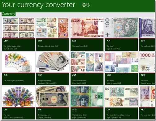 Windows 8 currency converter app