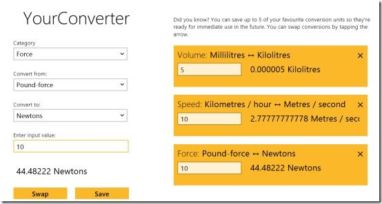 Windows 8 unit converter app