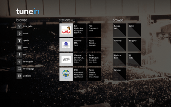 tunein radio app for windows 8