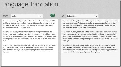 Language Translator Windows 8 app