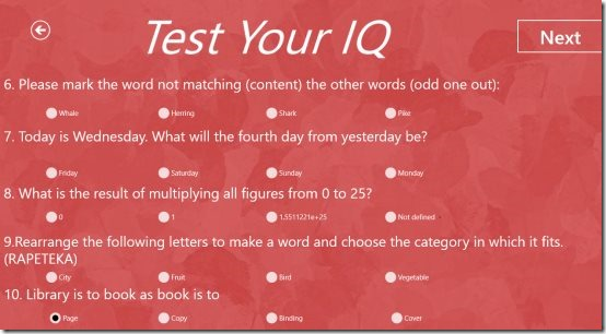 Windows 8 IQ Test apps