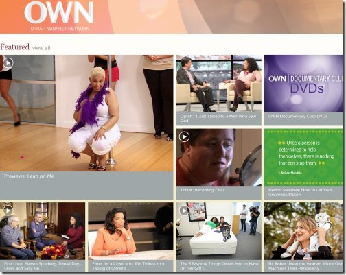 Windows 8 Oprah Winfrey app