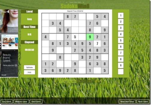 Windows 8 Sudoku puzzle app