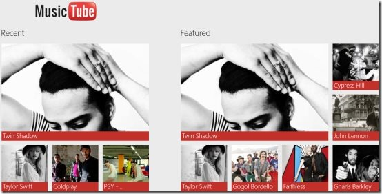 Windows 8 music videos player app