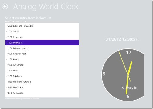 Windows 8 world clock app